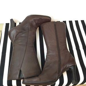 Jasmine Collection Brown Mid Calf Zip Boots Size